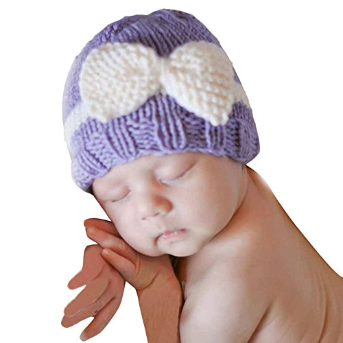 Baby Knitting Hat, Malltop Newborn Infant Soft Knit Wool Crochet Bow-knot caps For 0-1Y (Wool Hat Patterns)