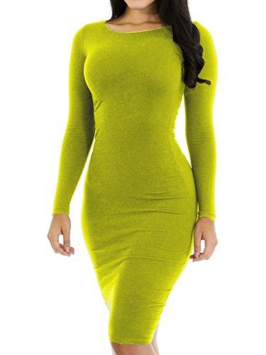 Party Short Long Sexy Dress Haola Dress Grassgreen Slim Women's Casual Sleeve Mini Club CqUxFwZ