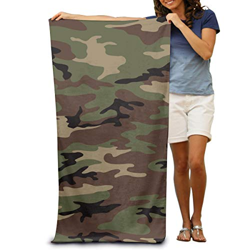 (OUTOST Super Soft Bath Towel Woodland Army Camouflage Quick-Drying Beach Towel Travel Blanket Swimming Spa Towel Large Size 31