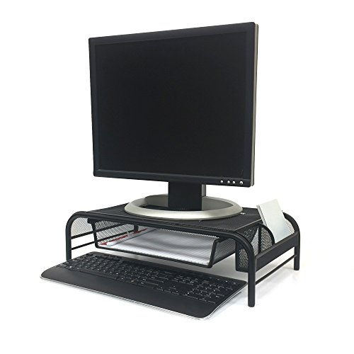 Mind Reader MESHMONSTA-BLK Metal Mesh Monitor Stand and Desk Organizer with Drawer, - Desk Keyboard Stand