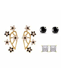 Combo of Gold Tone Indian Bollywood Ethnic Designer Ear Cuffs & Earrings Jewellery for Women