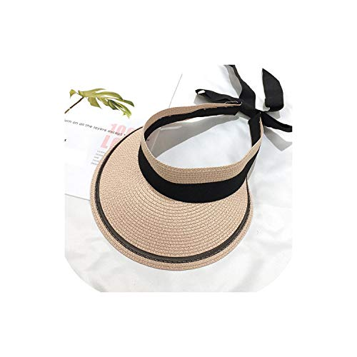 Heart-To-Heart sunhat Summer Hats Sun Visor Straw Hat with Ribbon Bow Foldable Beach Hat Sunshade Outdoor Travel,Pink