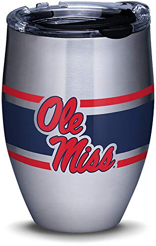 Tervis 1312669 Ole Miss Rebels Stripes Insulated Travel Tumbler with Lid 12oz - Stainless Steel -