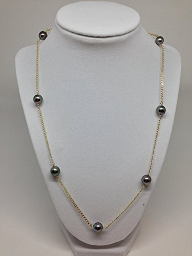 Tin Cup Tahitian Pearl (7 Tahitian Pearl Tin Cup Necklace with nautical link 14k yellow gold chain (TC2))