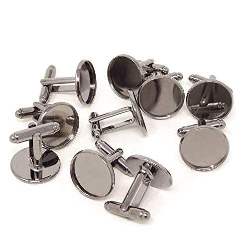 Honbay 10PCS(5 Pairs) 16mm Gun Black Brass French Style Blank Cufflink Bases Cuff Button Cabochon Setting Tray (Cufflinks Mm 16)