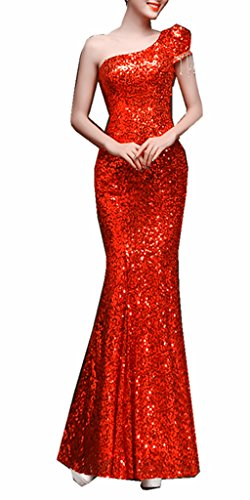 Damen One Mermaid Kleider emmani Rot Lang Shoulder Ball Fdqqnz