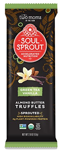 Soul Sprout, by Two Moms Sprouted Almond Butter Truffles, Green Tea Vanilla Almond Butter, 2 Ounce (Pack of 6)