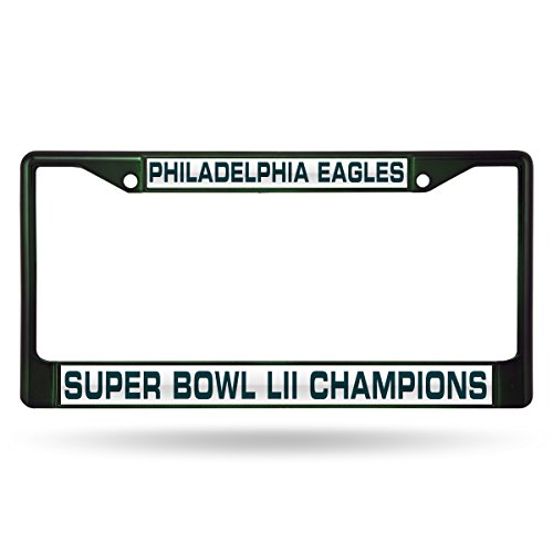 NFL Philadelphia Eagles Super Bowl LII Champs Laser Cut Colored Chrome License Plate Frame (Super Frame Bowl)