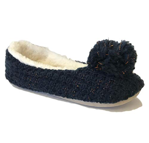 City pom Outlet Pom Chaussons Navy Femme rrSqXA