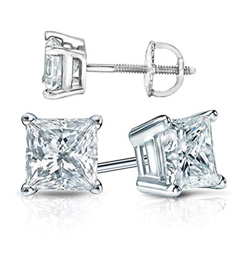 Diamonbella 101 Facets Realistic Princess Cut Simulated Diamond Earrings Ear Studs Solid 925 Silver Screw Back 1 2 Carats