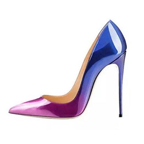 ZHIFENGLIU Zapatos de Solteros de Verano Para Mujeres/Charol Degradado/Tacones Altos/Zapatos de Mujer Hechos a Mano Puros 6