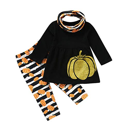 Halloween Costumes for Toddler Girls Kids Pumpkin Dress Stripe Pants Costume Outfits Set+Scarf Black