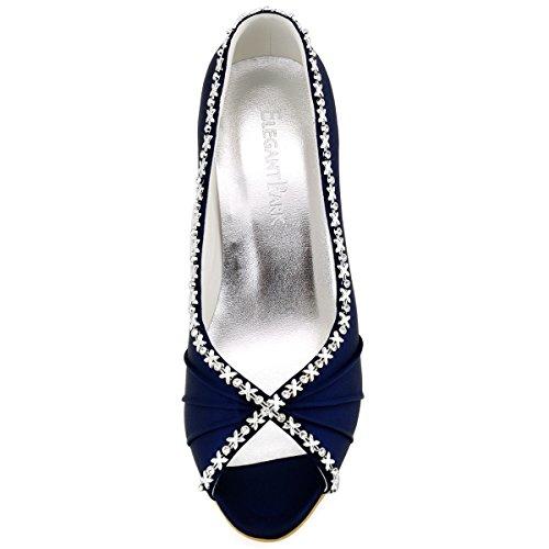 Elegantpark Mariee Bleu Marine Chaussures Satin Femmes Talon Pompes Ouvert Bout de Crinklinge Moyen EP2094 Soiree r6n1vrO7x