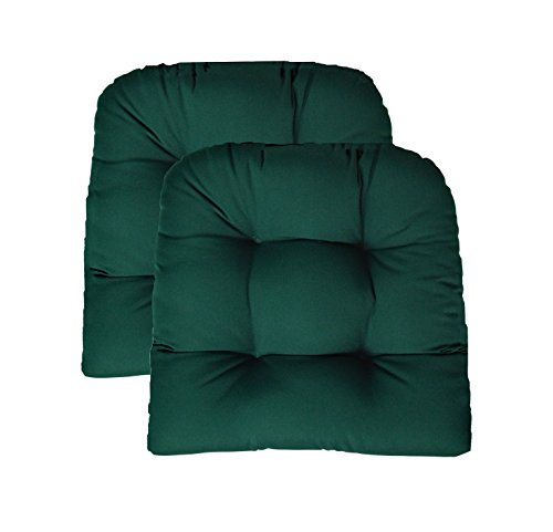 (RSH Decor Sunbrella Canvas Forest Green 2 Piece Wicker Chair Cushion Set - Indoor/Outdoor Tufted Wicker Matching Chair Seat Cushions - Green)