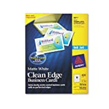 Two-Side Printable Clean Edge Business Cards, Inkjet, 2 x 3-1/2, White, 400/Box, Total 2000 EA, Sold as 1 Carton