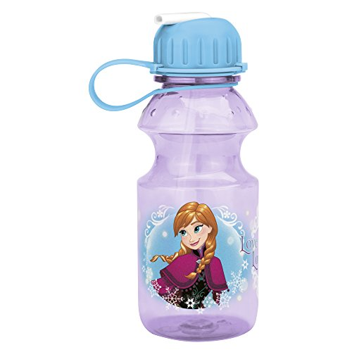Zak! Designs Tritan Water Bottle with Flip-up Spout with Elsa & Anna from Frozen, Break-resistant and BPA-free plastic, 14 oz.