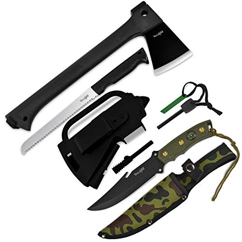 Yes4All Camping Axe and Knife Kit with Sheath & Fire Starter – Survival Axe Hatchet/Camping Hatchet & Fixed Blade Tactical Knife (Knife H266A)
