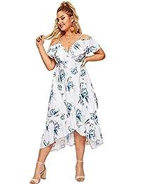 Milumia - Vestido de Verano para Mujer, Talla Grande, diseño Floral, Color Verde