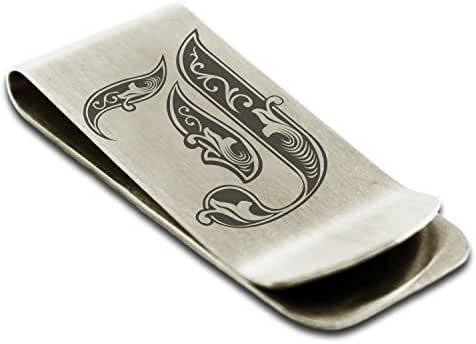 Stainless Steel Letter J Initial Royal Monogram Engraved Money Clip Credit Card Holder