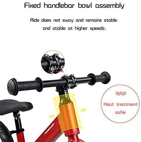 YSA インファントバランスバイク、軽量ペダルなしキッズウォーキング自転車2〜6年キッズスクーター12インチスクーターベビー自転車は子供、黄色に最適です
