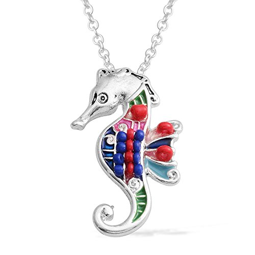 Seahorse Bead Pendant (Multi Color Seed Bead, Enameled Silvertone Seahorse Pendant With Chain 16-18)