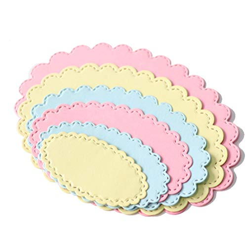 (6Pcs/Set Oval Circle Scallop Frame Dies Cut Cutting Decorative Scrapbooking Scrapbook Steel Craft Die Create Stamp Embossing Paper Card)