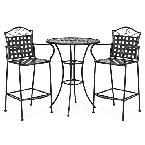 Black Wrought Steel Bench Stand 3 Piece Courtyard 2 Footrest 1 Drinking Bar with Top Shade Hole Contemporary Style Metal Table Chair -