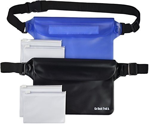 Go Back Trail Waterproof Pouch Set - Includes 2 Large Heavy Duty Dry Pouches Plus 4 Bonus Valuable Bags - Adjustable Waistband - for Men, Women or Kids - Protect Cash, Credit Cards, Keys Smartphones