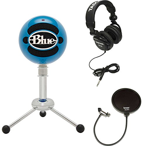 (Blue Microphones Snowball Microphone (Neon Blue) w/Headphones & Knox Pop Filter)
