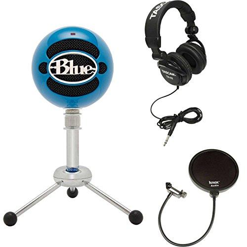 Full Size Multimedia Headphones - Blue Microphones Snowball Microphone (Neon Blue) w/Headphones & Knox Pop Filter