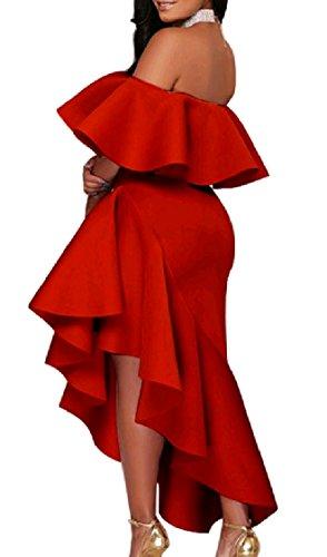 Coolred-femmes Ourlet Asymétrique Large Robe De Soirée Club Midi Falbala Épaule Rouge