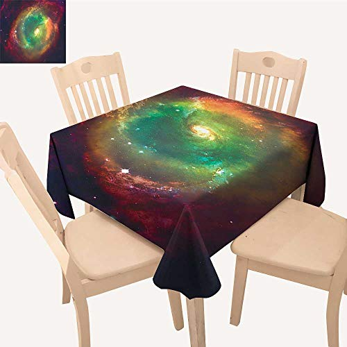 UHOO2018 Square/Rectangle Tablecloth Waterproof Polyester Horiz tal Dusty Gas Cloud Nebula Image Stars aga st Space Green Red Wedding Birthday Party,50x 50inch (Dominoes St Cloud)