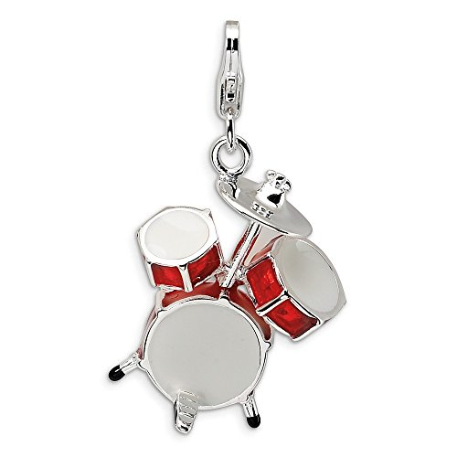 3-D Red Drum Set Charm In 925 Sterling Silver 34x20mm