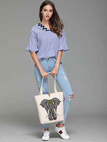 10L Bag So'each Beige Beach 38cm Print Animal Canvas Elephant Tote amp; zqIAz