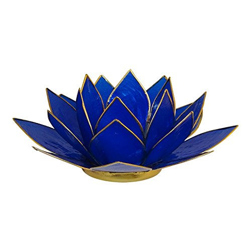 - The Crabby Nook Lotus Tea Light Candle Holder Capiz Shell Decorating Accent Home Decor (Royal Blue)