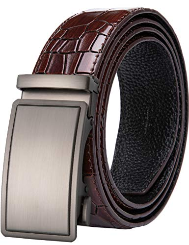 Dubulle Genuine Leather Ratchet Belt with Removable Buckle Red Belt Strap Automatic Sliver Buckle Fashion Mens Belt ()