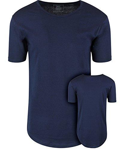 ShirtBANC Mens Hipster Hip Hop Long Drop Tail T Shirts (Navy Blue, S)