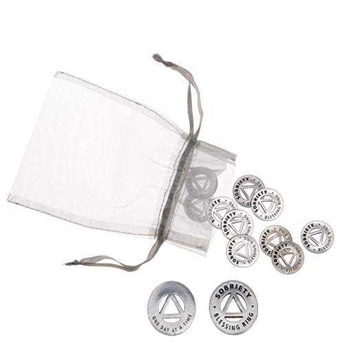 Blessing Ring Sobriety Coin Set of 50 Pewter Charms or Inspirational Pocket Tokens by Whitney Howard Designs