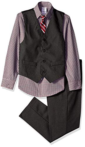 Van Heusen Boys' Big 4-Piece Formal Dresswear Vest Set, Extreme Black 14