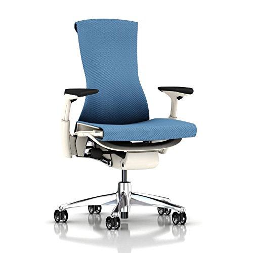 Herman Miller Embody Chair: Fully Adj Arms - White Frame/Aluminum Base - Translucent Casters