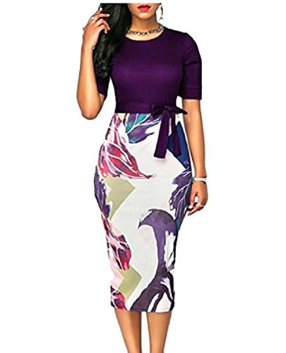 Business Knee Dresses Jaycargogo Purple Summer Floral Bodycon Women's Length Party qnBtOY
