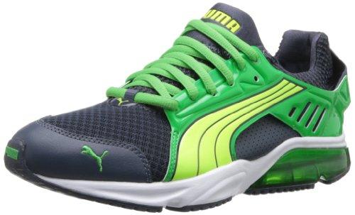 PUMA Men's Powertech Blaze Met Nm Running Shoe,Ombre Blue/Island Green/Fluorescent Yellow,12 M US (Mens Puma Mesh Running Shoe)