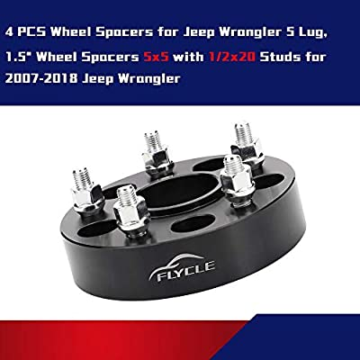 FLYCLE 4pcs 5x5 Wheel Spacers 1.5 inches with 1/2-20 Studs for 2007-2020 Jeep Wrangler JK, 1999-2010 Grand Cherokee WJ WK, 2006-2010 Commander XK: Automotive