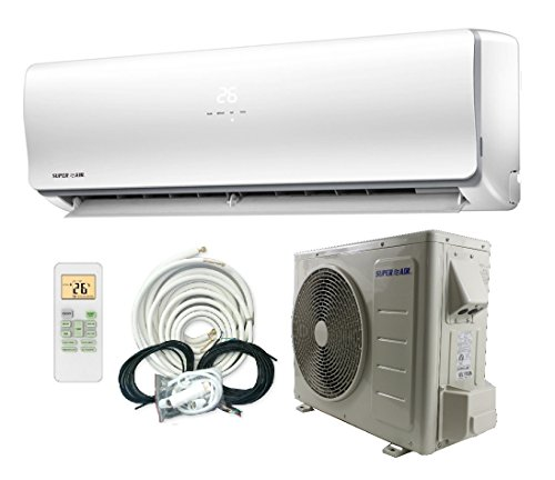 SuperAir 12000 BTU 22 SEER (1 TON) Ductless Mini Split System Inverter Air Conditioner with Heat Pump 110V - FULL SET by Superair
