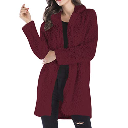Knitted Cardigan Yying Outwear Donna Long Loose Warm Vino Sleeve Rosso Coat Solid 6HfwO6