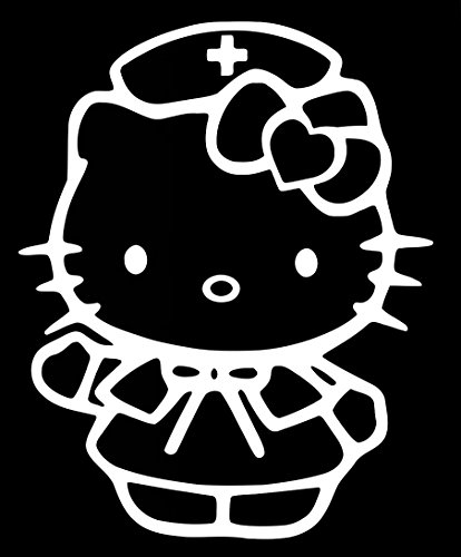 Nurse Hello Kitty Decal Vinyl Sticker|Cars Trucks Walls Laptop|WHITE|5.5 In|URI369