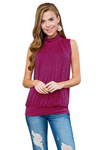 (Classic Mock Neck Tank - Pleated Turtleneck Sleeveless Dressy Jersey Top w/Waistband (Stripe - Pink-Navy, Small))