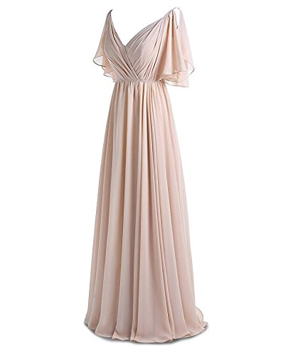 Pleat Gown Chiffon Long Party V Bridesmaid Ivory Dress Botong Evening Prom Neck qvawAE