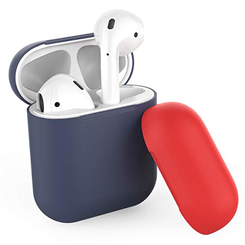 AhaStyle Ultra Thin Duotone AirPods Case Cover Protective Skin Silicone for Apple Airpods Charging Case(Body-Navy Blue/Top-Navy Blue,Red)