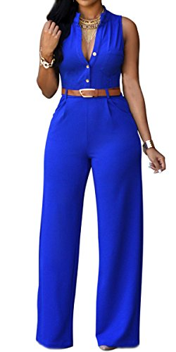 [Roswear Women's Sexy Plunge V Neck Belted Wide Leg Jumpsuits Dress Royal Blue X-Large] (Sexy Jumpsuits For Women)